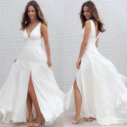Wholesale Pink Long Skirt Chiffon - Boho Wedding Dresses A Line Sexy V Neck Split Long Chiffon Bridal Gowns 2017 New Summer Beach Bohemian Wedding Dresses