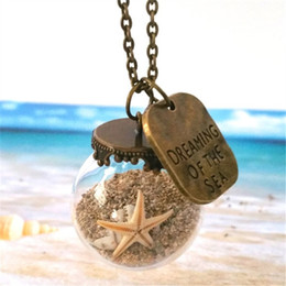 Wholesale Necklace Alloy - 10pcs Miniature Beach Globe Sand Shells Starfish Beach Necklace Tiny Beaches Beach Glass Vial Jewellery