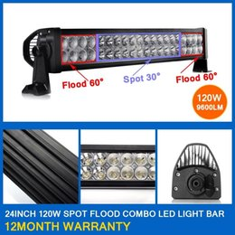 "Wholesale Led Headlights For Trucks - 120W 22"" Spot Flood Combo Beam LED Light Bar Working Light Roof Front Headlight For Truck Jeep Off-road 4WD Car Boat Driving light 12V 24V"