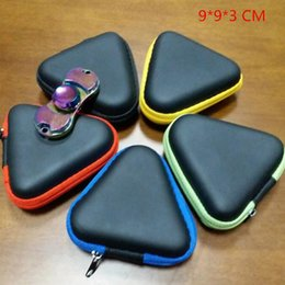 Wholesale Triangle Tool Bag - 9*3cm Triangle Hand Spinner Box Black Fidget Spinners Case Sturdy Storage Bags Compression Resistance Bag Keys Storage Bags BY DHL