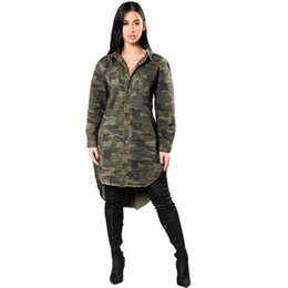 Wholesale Military Women S Dress - Denim Dress 2017 Autumn Military Style Women Long Sleeve Shirt Dress Fashion Camouflage Print Irregular Casual Loose Dresses