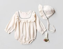 Wholesale Cotton Girls Ruffle Romper - Ins new Euro style winter autumn baby girl round collar long sleeve solid color ruffles style romper + cap baby girl 100% cotton romper sets