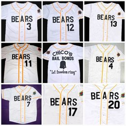 Wholesale Black Bears Baseball - Mens's Bad news BEARS Movie Jersey Button Down #3 Kelly Leak #12 Tanner Boyle Chicos Bail Bonds Movie Baseball Jerseys