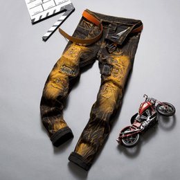 Wholesale Bronze Jeans - Wholesale-2016 New Fashion Mens Distressed Bronze Denim Jeans Retro Colour Patchwork And Stitching Famous Brand Jean Trouser Size 28 To 38