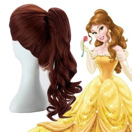 Wholesale Ponytail Wig Brown - Wholesale-Free Shipping Most Popula Princess Belle Costume Wig ong Curly Withe One ponytail Cospaly Wig