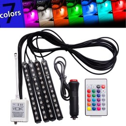 Wholesale Floor Lighting Strips - 7 Color 48 LED Car Interior Floor Decorative Atmosphere Lights Strip Waterproof Glow Neon Decoration Lamp with Wireless Remote Control and C