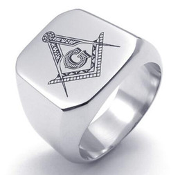 Wholesale High Less - New 316L Stainless Steel Silverish Casting High Polishing Freemasonry Freemasons Symbol Rings SZ#8-15 ,Free and Accepted Masons
