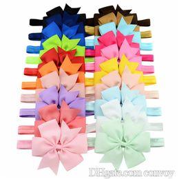 "Wholesale Grosgrain Headbands - 4.33"" Baby Infant big Bow Headbands Grosgrain Ribbon Boutique Bows Headbands Girls Elastic Hairbands Hair Accessories Baby Headwear KHA450"