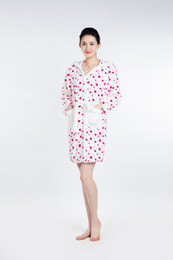 Wholesale Sexy White Spots - White Red Spots Bathrobe Women Pajamas Hotel SPA Plus Robes Pajamas for Women Super Soft Coral Fleece Coral Cashmere Sleepwear Bath Towels