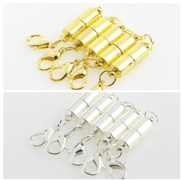 магнитный цилиндр Скидка Серебряный / позолоченный магнитный Магнит ожерелье застежки цилиндрической формы застежки для ожерелье браслет ювелирных изделий DIY