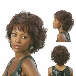 Wholesale Short Chic Wigs - Xiu Zhi Mei Hot sell Cheap New Fashion Women Brown Color Chic Short Wavy Hairstyle Synthetic Hair Wigs For Black Women