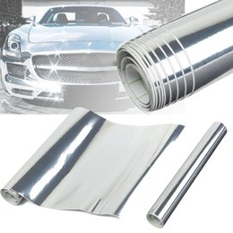 Wholesale White Gloss Car Vinyl Wrap - Chrome Silver Mirror Vinyl DIY Sheet Wrap Roll Decal Film Car Sticker Gloss Decal Car Styling 30*150cm