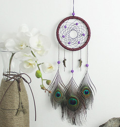 Wholesale Peacock Feather Wedding Decorations - Dream Catcher Wind Chimes Handmade Indian Peacock Dreamcatcher Feather Pendant Car Hanging Ornament Craft Wish Gift B953L