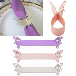 2019 держатели для лазерной резки Wholesale- 50Pcs Butterfly Paper Napkin Rings Wrappers Holders Table Decoration Wedding Party Favors Paper Laser Cut Cards 3 Colors скидка держатели для лазерной резки