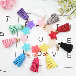 Wholesale Metal Heart Ornaments - Hot sale New fashion candy color diy pentagonal star tassel key chain phone shell ornaments KR341 Keychains mix order 20 pieces a lot