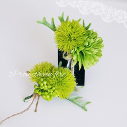 Wholesale Groom Brooch Boutonniere - succulent plants wedding brooch pins artificial green corsage boutonniere stick for best man suit wedding accessories groom groomsmen brooch