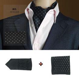 Wholesale Tuxedo Ascot Tie - GUSLESON Fashion Brand Men Handkerchief Cravat Silk Paisley Pattern Gentlemen Dots Tie Wedding Ascot Bowtie Tuxedo