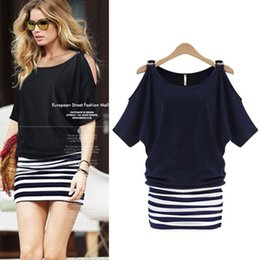Wholesale Cocktail Dresses Flutter Sleeves - Wholesale- Fashion Women Sexy Striped Bodycon Casual Cocktail Party Mini Dress Summer Dresses Vestidos