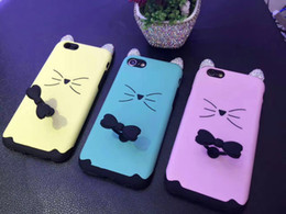 Wholesale Cat Ears Iphone Cases - New arrival 2017 best selling bling bling diamond cat ear tpu pc 2 in 1 case with bowknot ring for iphone 6 6S 6 Plus 7 7 Plus