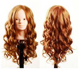 "Wholesale Wig Mannequin Heads For Sale - 100% Human Hair Mannequin Heads 20"" gloden Hair Professional Styling Mannequin Head Hairdresser Practice Maniqui Head For Sale"