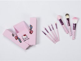 Wholesale Make Up Beauty Case - Hello Kitty Makeup Brushes Set + Mirror Case eyeshadow blush Brush Kit Make up Toiletry Beauty Appliances 8pcs set kids Cosmetic tools