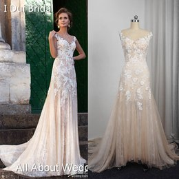 Wholesale Dresses Scalloped - A line Champagne Light Wedding Dresses Real Photo Sleeveless Lace Appliqued Illusion Neckline Illusion light weight bridal gown