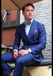 Wholesale Custome Made Suits - Wholesale- Bule Double Breasted Suits Custome Made Terno Slim Fit Masculino Wedding Formal Blazer Handsome (Jacket+Pant+Tie+Handkerchiefs)
