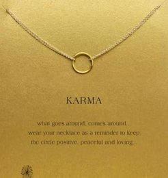 Wholesale Cute Gold Pendant - With card! cute Dogeared Necklace with one circle pendant(karma), silver and gold color, free shipping and high quality.