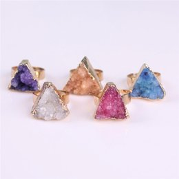 Wholesale Gem Clusters - Agate Drusy Druzy Adjustable Ring Raw Gemstone Rough Gem Ring Gold Plated Triangle Natural Druzy Ring for Best Promise Anniversary Wedding