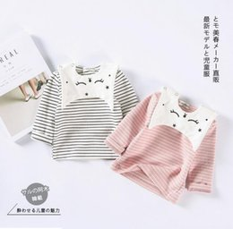 Wholesale Sleeved Bibs - 2017 INS NEW ARRIVAL Girls boy Kids t shirt Long Sleeve stripped print o-neck T shirt with cat bib kids causal 100% cotton baby kids t shirt