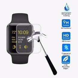 Protección de pantalla de cristal premium online-Para Apple Watch 38 / 42mm Film de vidrio 9H 2.5D Protector de pantalla de vidrio templado premium Protección contra explosiones de vidrio