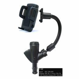 Chargeur allume-cigare portable en Ligne-Double charge de téléphone portable USB 5V 2A supports avec support de chargeur chargeur allume-voiture 360 degrés rotable pour iPhone 7 Xiaomi S8 Android