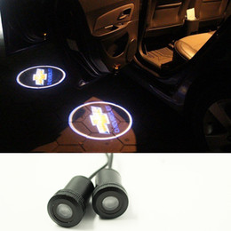 Wholesale Chevrolet Led Door Lights - 2X LED For CHEVROLET Car Auto Laser Projector Logo Illuminated Emblem Under Door Step courtesy Light Lighting symbol sign badge