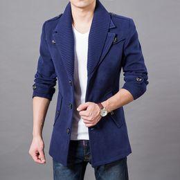 casacos de boa qualidade Desconto 2017 Homens de Negócios Casuais Casacos Quentes Tamanho M-3XL Boa Qualidade Único Design Breasted Espessura Homem Moda Roupas de Lã