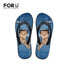 Wholesale Black Cat Slippers - Wholesale-Men's Flip Flops Denim Animals Printed Slippers Summer Fashion Beach Sandale Shoes For Man Cute Cat Slippers Plus Size 39-44