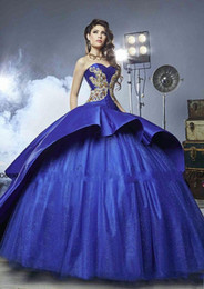 Wholesale Girls Peplum Dresses - 2017 Masquerade Ball Gown Royal Blue Sweety 16 Girls prom ball gowns Luxury Detail Gold Embroidery Quinceanera Dresses with Peplum
