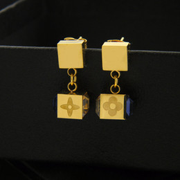 Wholesale Refine Gold - Rose gold earrings wholesale, AB four JOUET champagne purple diamond earrings earrings square drill, high-grade refined