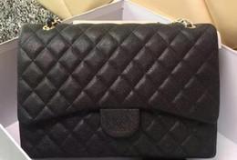 Wholesale Double Shoulder Leather - High Quality classic XXL Plaid Chain Bag Caviar Leather Double Flaps Bag Women's Shoulder Bag Fashion Handbag