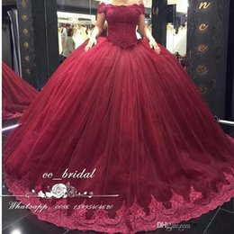 Wholesale 15 Dresses Pink White - Burgundy Off the Shoulder Quinceanera Dresses 2017 With Appliques Lace Sweet 16 Dress Plus Size Masquerade Ball Gowns Vestidos de 15 anos