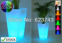 Wholesale Led Flower Vase Lights - Wholesale- Free SHIPPING Glowing lighting LED flower pot! Remote color changing RGB led flower pot ,led vase,LED beer barrel BY EMS