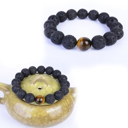 Wholesale Tiger Bracelet Ring - Men Women 8mm Lava Rock Beads Bracelet Elastic Natural Tiger Eye Stone Yoga Chakras Bracelet Bangle N142S
