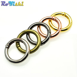 Wholesale Leather D Ring Belts Wholesale - 10pcs lot Spring Gate D O Ring Openable Keyring Leather Bag Belt Strap Dog Chain Buckle Snap Clasp Clip Trigger Bag Parts Accessories