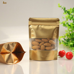 Wholesale Plastic Pouch Zip Lock Bags - 100pcs lot 9sizes Clear Windowed gold embrass Stand Up Zip lock Bag Self Seal Zipper Food Storage Bag Retail Packaging Pouch