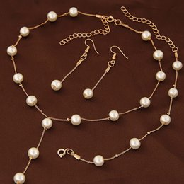 Wholesale Jewelery Pearls - Imitation Pearl Jewelry Sets Women Necklace Bracelet Earrings Engagement Jewelery Bridal Wedding Accessories #228451