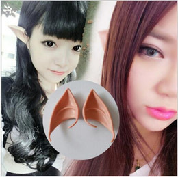 Wholesale Christmas Fairies Elves - Top Grade Latex Halloween Party Cosplay Accessories Latex Soft Pointed Prosthetic Wizard Elf Fairy Hobbit Vulcan Spock Costume Tips Ears