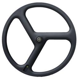 Wholesale Tri Spoke Wheelset - Free shipping Full Carbon Wheels 3 Spokes Clincher carbon Wheelset tri-spoke carbon wheels Track Triathlon Time Trial Road Bike Wheels