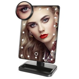 Wholesale Led Vanity - Adjustable Vanity Tabletop Lamp 20 LEDs Lighted LED Touch Screen Mirror Makeup Portable Mirror Luminous 180 Rotating Mirror