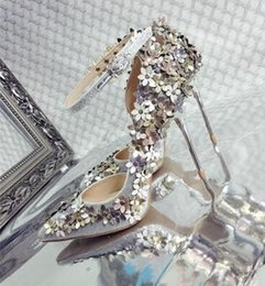 Wholesale Sexy Floral Heels - Applique Special Wedding Shoes Pointed-Toe Stiletto Heel Rhinestone Fashion Vintage Sexy Floral Sliver Beautiful Bridal Shoes