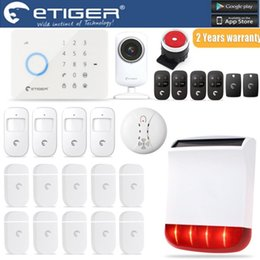 Wholesale Wireless Solar Home Security Systems - LS111- ES-S3B Android IOS Solar Power Outdoor Siren eTIGER GSM PSTN Burglar Alarm System For Home Security WiFi Network Camera