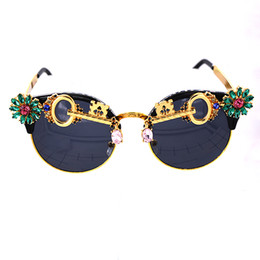 Wholesale Keys Frame - Metal Key Flower Sunglasses Crystal Round Rhinestone Sunglasses women Brand Designer Summer Luxury Crystal Ladies sunglasses For Summer